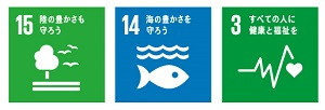 SDGsロゴ15,14,3